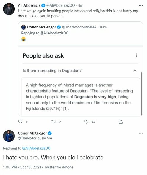 "Conoro McGregoro ir Ali Abdelazizo žinutės | ""Twitter"" nuotr."