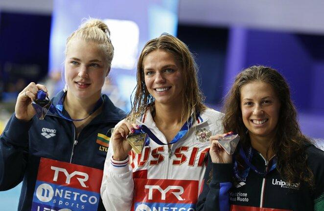 Rūta Meilutytė po 2018 metų Europos čempionato 100 metrų krūtine finalo   Scanpix nuotr.