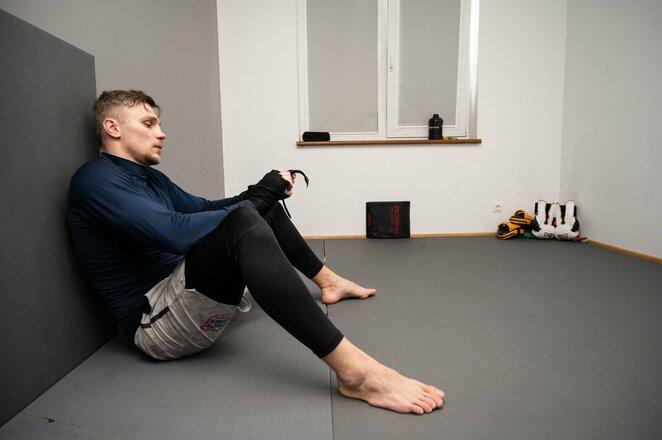 Sergejus Maslobojevas pradėjo treniruotis namuose l Manto Stankevičiaus nuotr.