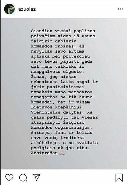 Ąžuolo Tubelio žinutė | Instagram.com nuotr