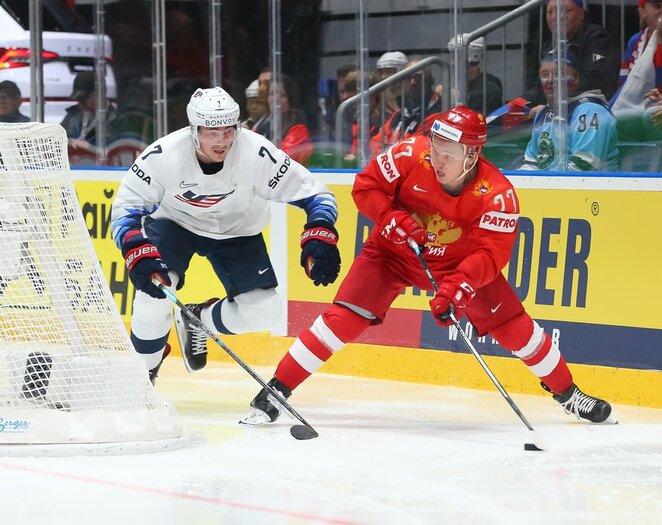 Rusų ir amerikiečių rungtynės   IIHF nuotr.
