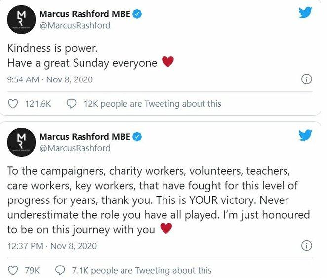 """Marcuso Rashfordo žinutės   """"Twitter"""" nuotr."""
