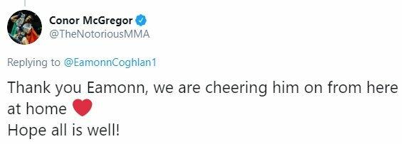 "Conoro McGregoro žinutė | ""Twitter"" nuotr."