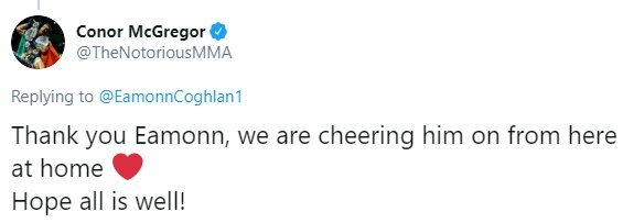"Conoro McGregoro žinutė   ""Twitter"" nuotr."