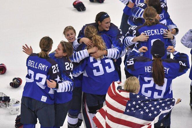 JAV - Kanados moterų rinktinių rungtynių akimirka | Scanpix nuotr.