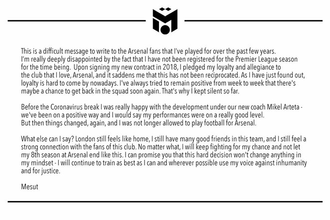 "Mesuto Ozilo žinutė | ""Twitter"" nuotr."