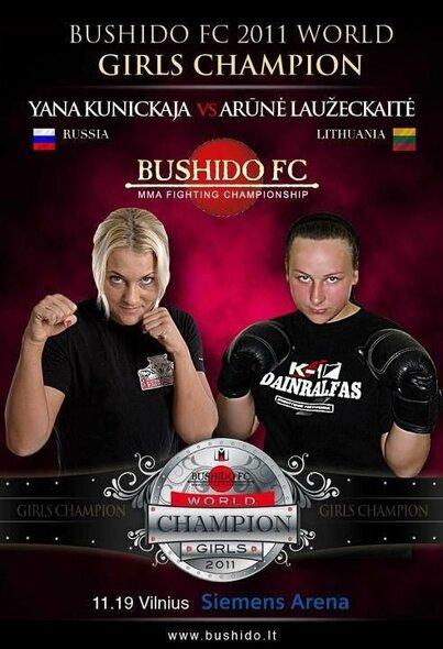 2011 metais vykusios Y.Kuznetskajos ir A.Laužeckaitės dvikovos plakatas | Organizatorių nuotr.